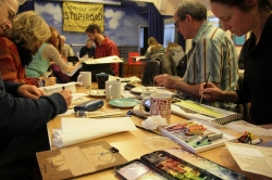"""Participants at the """"Walk, Eat, Draw"""" event on Saturday 24 November"""