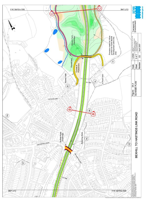 Map showing the route of the Link Road as it exits Sidley.