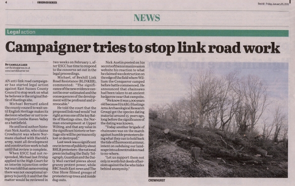 campaigner tries to stop link road work