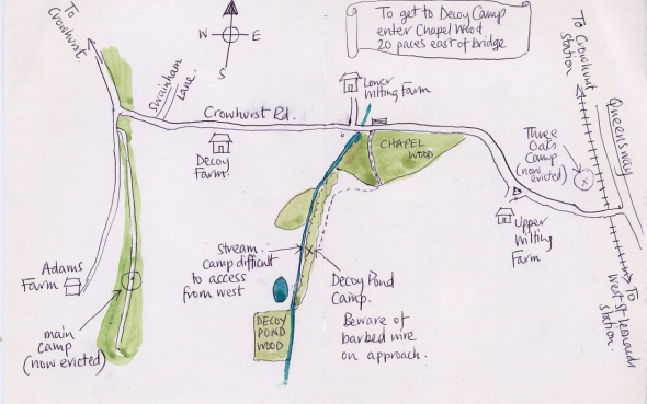 Map to Decoy Pond camp