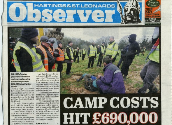 Frontpage of the Hastings Observer, 8 February 2013