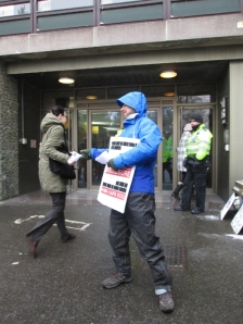 Leafleting workers going into Ashdown House, home of the Department for Transport's Information Rights Unit. www.operationdisclosure.wordpress.com