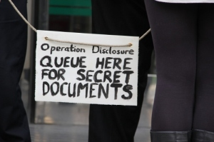 Queue here for secret documents!