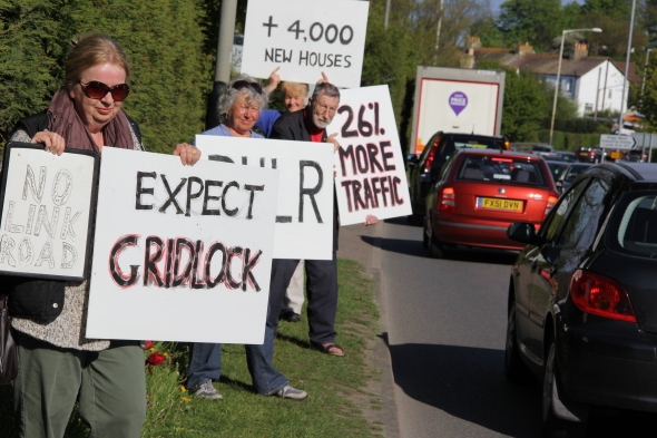 Local residents take to the Ridge on Thursday 16 May to highlight the predicted 26% increase in traffic if the Link Road is built.