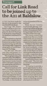 Amber Rudd's call, as reported in the Hastings Observer on 31 May 2013