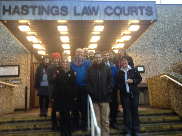 The Trial 4 defendants and friends outside Hastings Magistrates Court (19 Dec 2013)