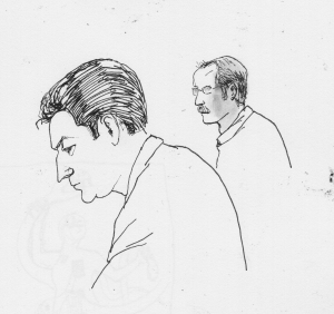 Courttoom sketch by Emily Johns: the prosecutor momentarily flummoxed