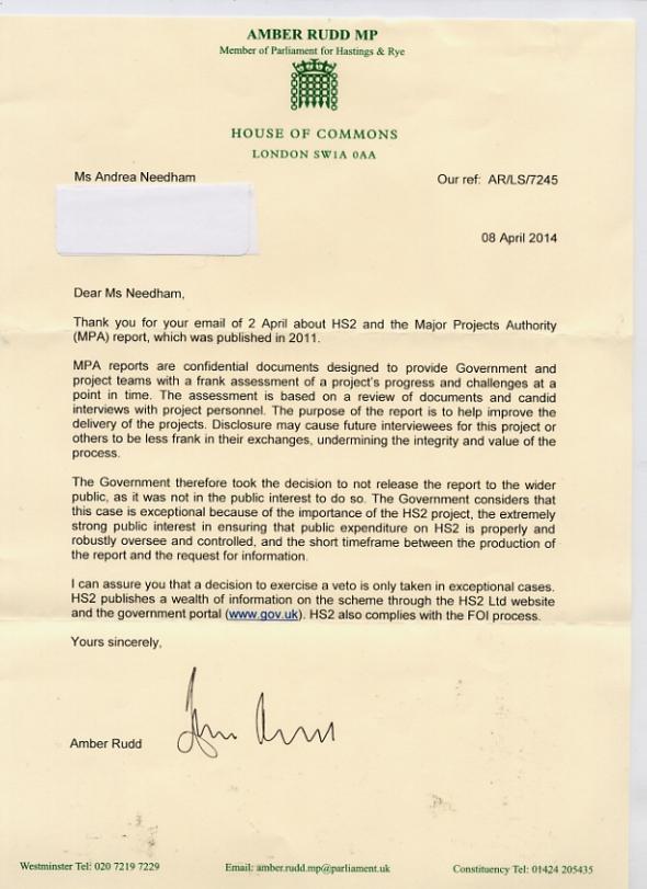 Amber Rudd letter HS2
