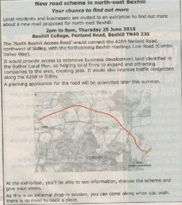 North Bexhill Access Road consultation advert