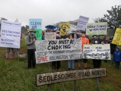 Campaigners against the Queensway Gateway road highlight pollution hotspot, Sedlescombe Road North (A21)